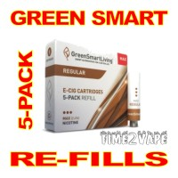 SUPER E-CIG GREEN SMART REGULAR REFILLS 5-PACK
