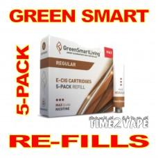 SUPER E-CIG GREEN SMART REGULAR REFILLS 5-PACK